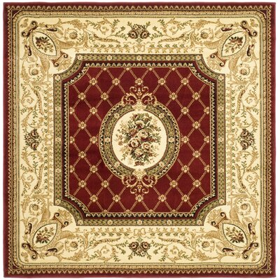 Taufner Red/Ivory Area Rug Rug Size: Square 6