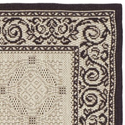 Beasley Ivory/Black Border Outdoor Rug Rug Size: Runner 24 x 12