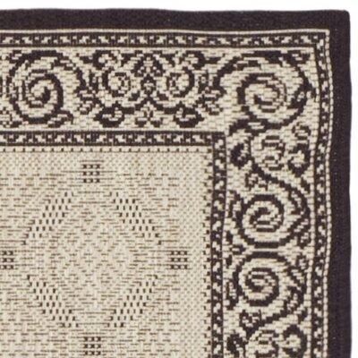 Beasley Ivory/Black Border Outdoor Rug Rug Size: Runner 24 x 14