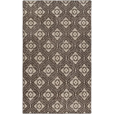 Norwalk Hand-Knotted Dark Brown Area Rug Rug size: 5 x 8