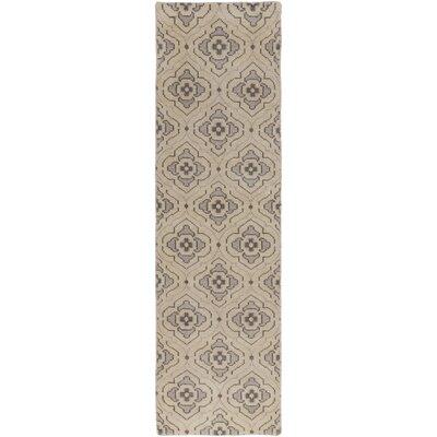 Norwalk Hand-Knotted Khaki Area Rug Rug size: Runner 26 x 8