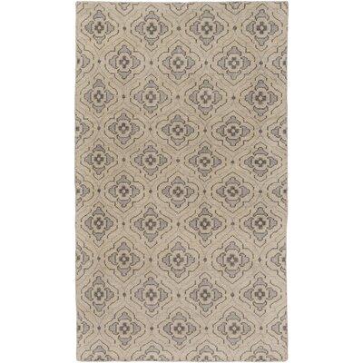 Norwalk Hand-Knotted Khaki Area Rug Rug size: 5 x 8