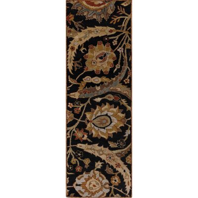 Arcadia Hand-Tufted Black Area Rug Rug Size: Runner 26 x 8
