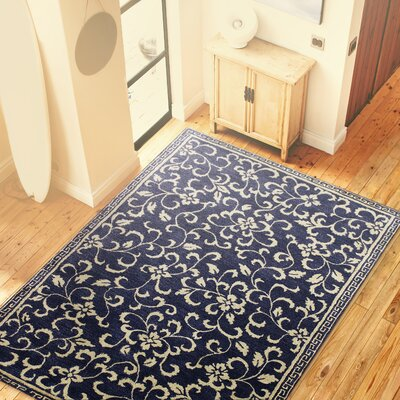 Dawley Navy Floral Wool Hand-Tufted Area Rug