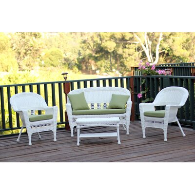 Cecilton 4 Piece Lounge Seating Group with Cushions Fabric: Green, Finish: White
