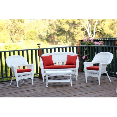 Cecilton 4 Piece Lounge Seating Group with Cushions Fabric: Red, Finish: Honey