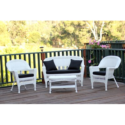 Cecilton 4 Piece Lounge Seating Group with Cushions Fabric: Black, Finish: White