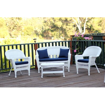 Cecilton 4 Piece Lounge Seating Group with Cushions Fabric: Navy Blue, Finish: White