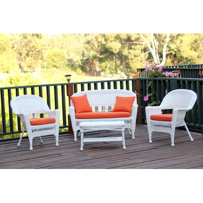 Cecilton 4 Piece Lounge Seating Group with Cushions Fabric: Brick Orange, Finish: White