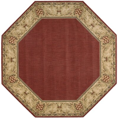 Bebington Wool Brick/Red Area Rug Rug Size: Octagon 56