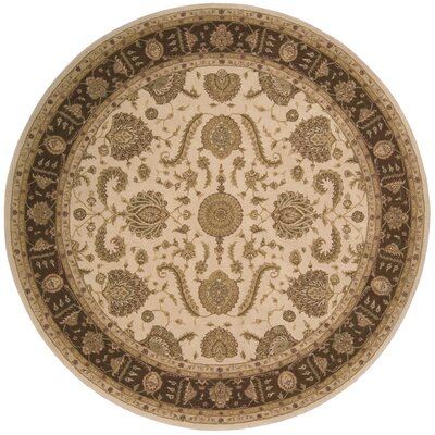 Lundeen Beige Floral Area Rug Rug Size: Round 9