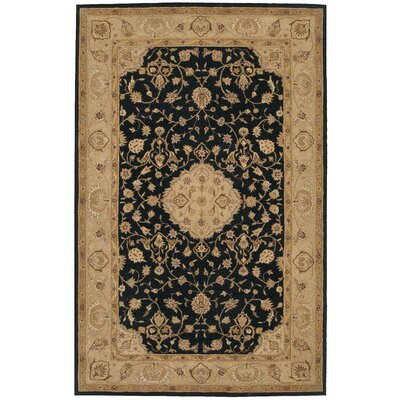 Lundeen Black/Gray Floral Area Rug Rug Size: 99 x 139