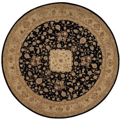 Lundeen Black/Gray Floral Area Rug Rug Size: Round 9