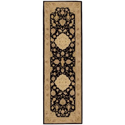 Lundeen Black/Gray Floral Area Rug Rug Size: Runner 26 x 8