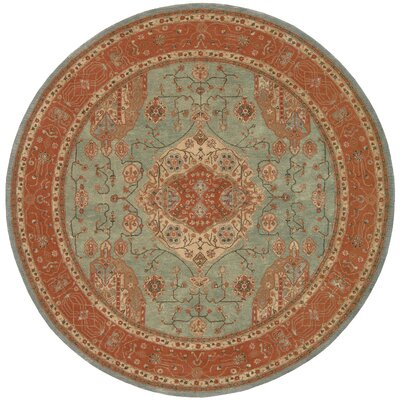 Lundeen Blue Geometric Area Rug Rug Size: Round 9
