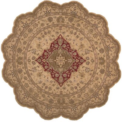 Lundeen Brown/Tan Floral Area Rug Rug Size: Novelty 6 x 6