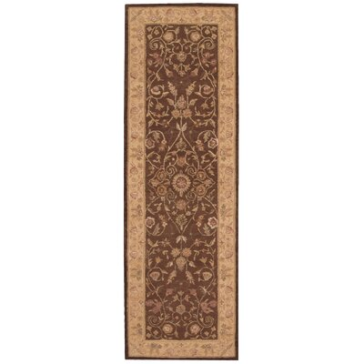Lundeen Brown/Tan Floral Area Rug Rug Size: Runner 26 x 8