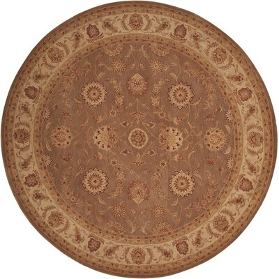 Lundeen Brown/Tan Floral Area Rug Rug Size: Round 9