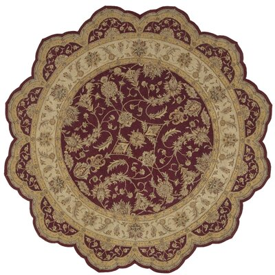Lundeen Burgundy Area Rug Rug Size: Round 8
