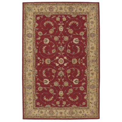 Lundeen Red Floral Area Rug Rug Size: 56 x 86