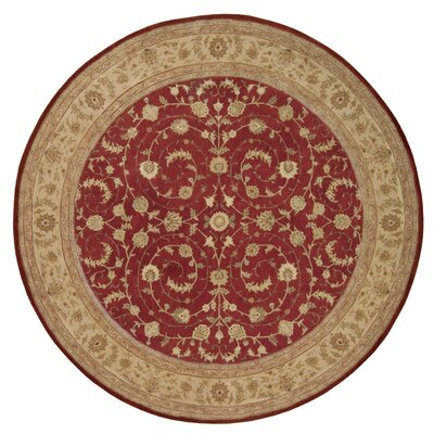 Lundeen Red Floral Area Rug Rug Size: Round 9