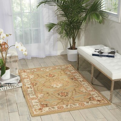 Lunada Hand-Woven Beige/Taupe Area Rug Rug Size: 36 x 56