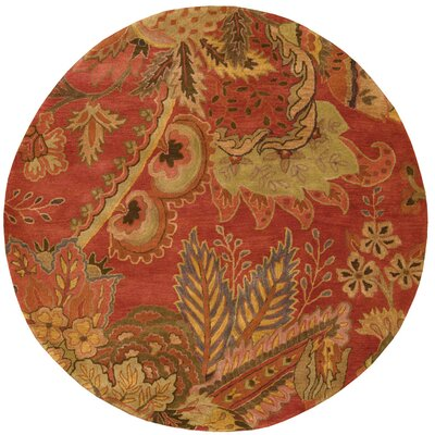 Morgan Hand-Woven Flame Red Area Rug Rug Size: Round 6