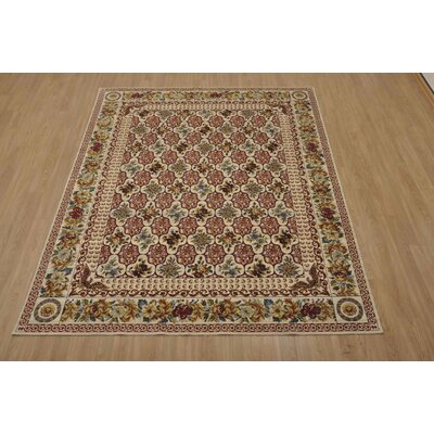 Bluebird Cream/Crimson Area Rug Rug Size: 86 x 116
