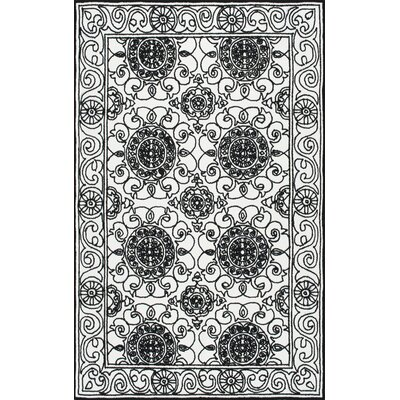 Dobson Hand-Hooked Black Area Rug Rug Size: 5 x 8