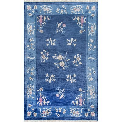 Denise Hand-Woven Blue Area Rug Rug Size: 76 x 96