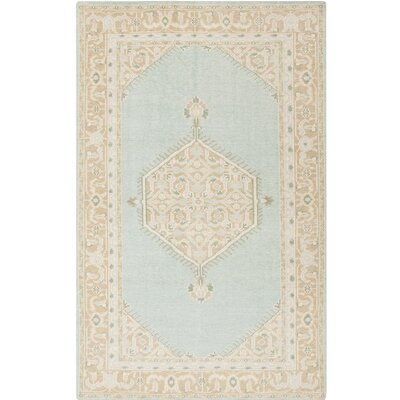 Palko Hand-Knotted Blue/Beige Area Rug Rug Size: Rectangle 36 x 56