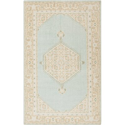 Palko Hand-Knotted Blue/Beige Area Rug Rug Size: Rectangle 56 x 86