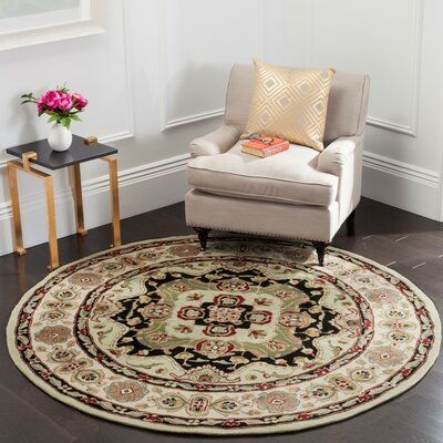 Mckee Hand-Hooked Soft Green/Ivory Area Rug Rug Size: Round 6 x 6