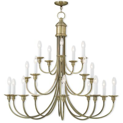 Honeysuckle 20-Light Candle-Style Chandelier Finish: Antique Brass