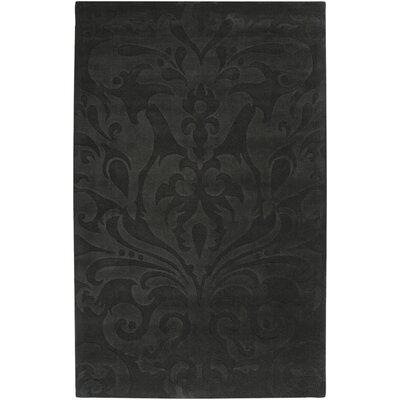 Rushden Hand-Loomed Black Area Rug Rug size: 5 x 8