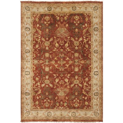 Baxter Hand-Knotted Dark Red Area Rug Rug size: 36 x 56