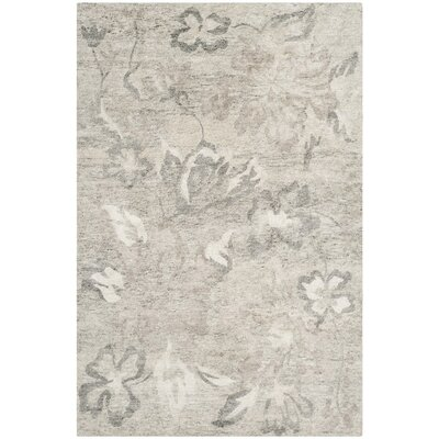 Brightling Hand-Knotted Natural/Silver Area Rug Rug Size: Rectangle 6 x 9