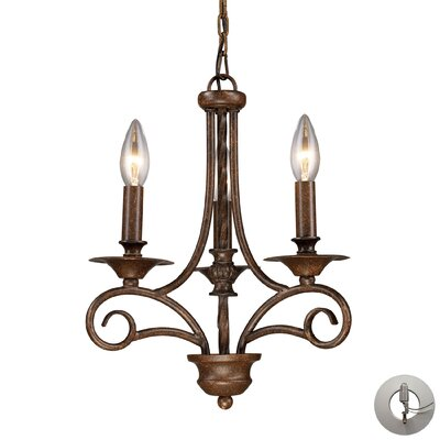 Electra 3 Light Candle-Style Chandelier