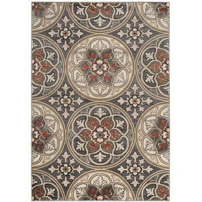 Taufner Light Gray/Coral Area Rug Rug Size: Rectangle 33 x 53