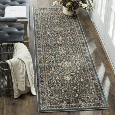 Taufner Teal/Gray Area Rug Rug Size: Runner 23 x 12
