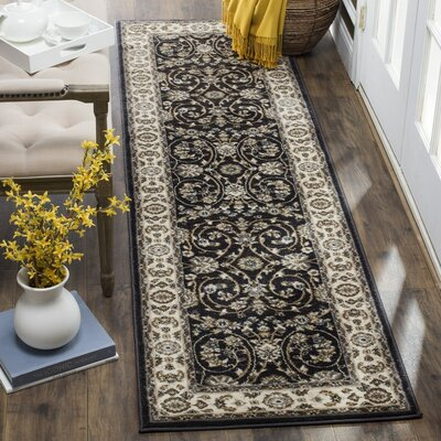 Taufner Anthracite/Cream Area Rug Rug Size: Runner 23 x 8