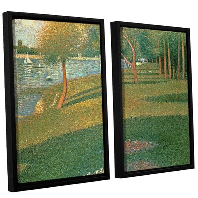 'La Grande Jatte' by Georges Seurat 2 Piece Framed Painting Print on Canvas Set