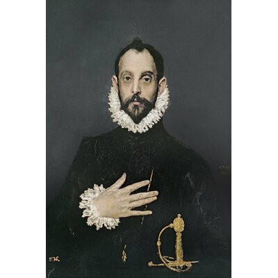 'Gentleman with His Hand on His Chest' by El Greco Painting Print on Wrapped Canvas