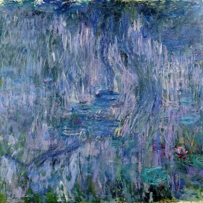 'Waterlilies and Reflections of a Willow Tree' by Claude Monet Painting Print on Wrapped Canvas