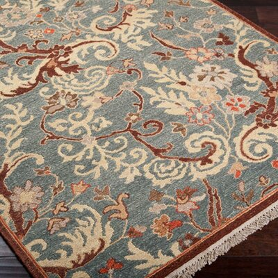Amy Brown & Blue Floral Wool Hand-Knotted Area Rug