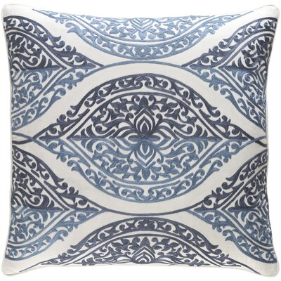 Parish Cotton Throw Pillow Size: 22 H x 22 W x 4 x D, Color: Denim/White