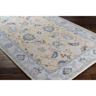 Crandon Border Gray/Blue Area Rug Rug Size: Rectangle 53 x 76