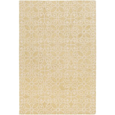 Russellville Hand-Hooked Yellow/Neutral Area Rug Rug Size: Rectangle 2 x 3