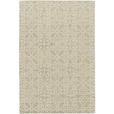 Russellville Hand-Hooked Green/Neutral Area Rug Rug Size: Rectangle 5 x 76