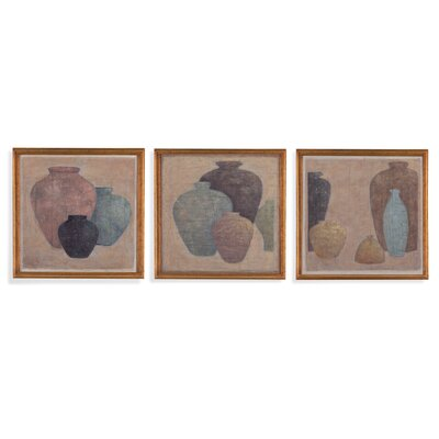 Silent Vases 3 Piece Framed Original Painting Set